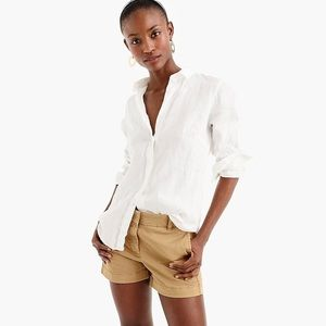 J. Crew Slim Linen White Women's Button Up Sz XL